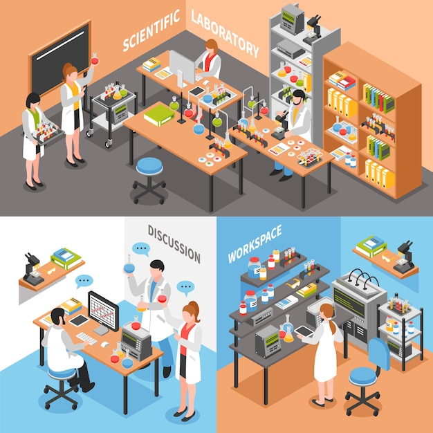 Science lab conceptual composition Free Vector
