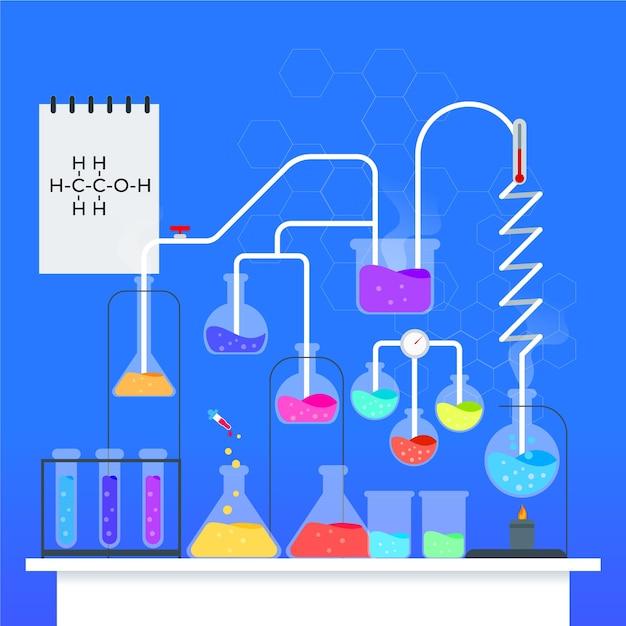Научная лаборатория иллюстрации Бесплатные векторы