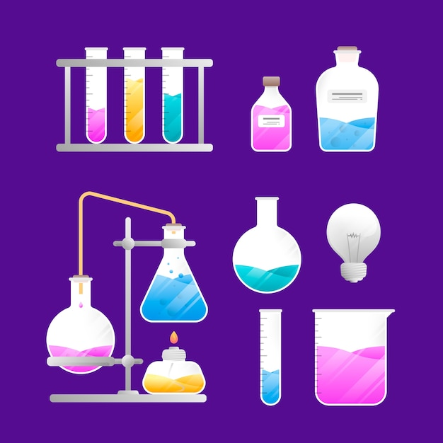 Science lab isolated objects on purple wallpaper Free Vector