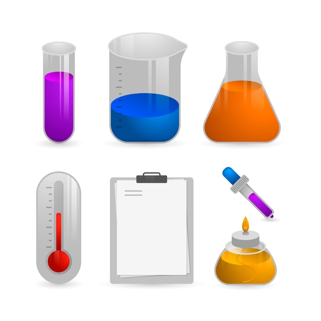 Science lab isolated objects on white wallpaper Free Vector