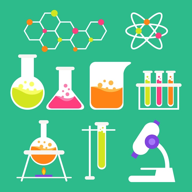 Science lab object collection Free Vector