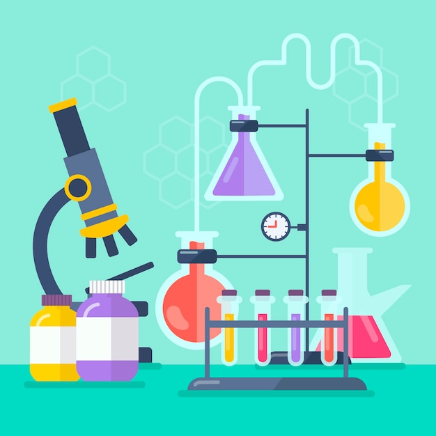Science lab objects illustration Free Vector