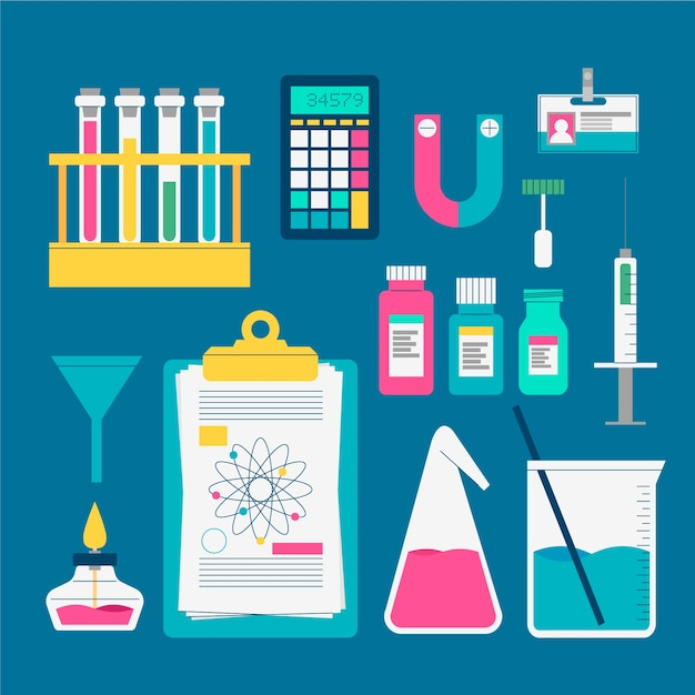 Science lab objects pack Free Vector