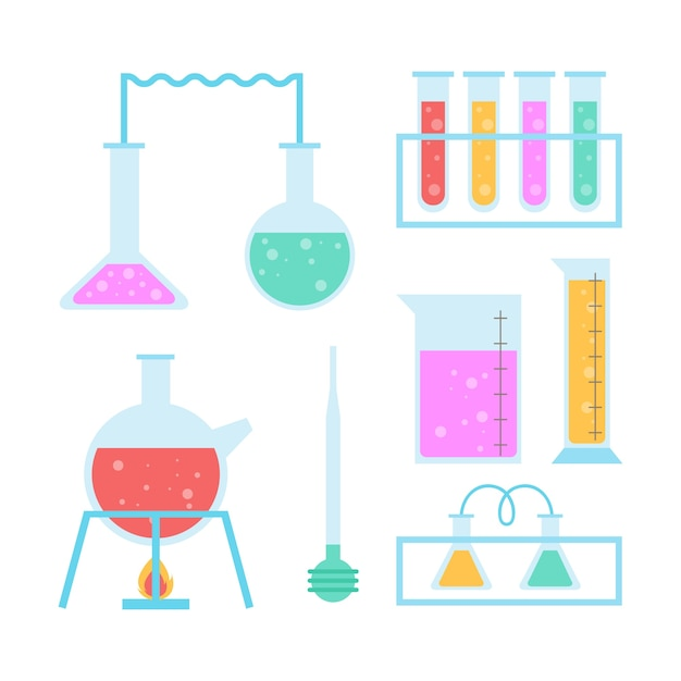 Science lab objects set Free Vector