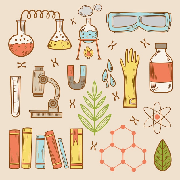 Science lab objects Free Vector