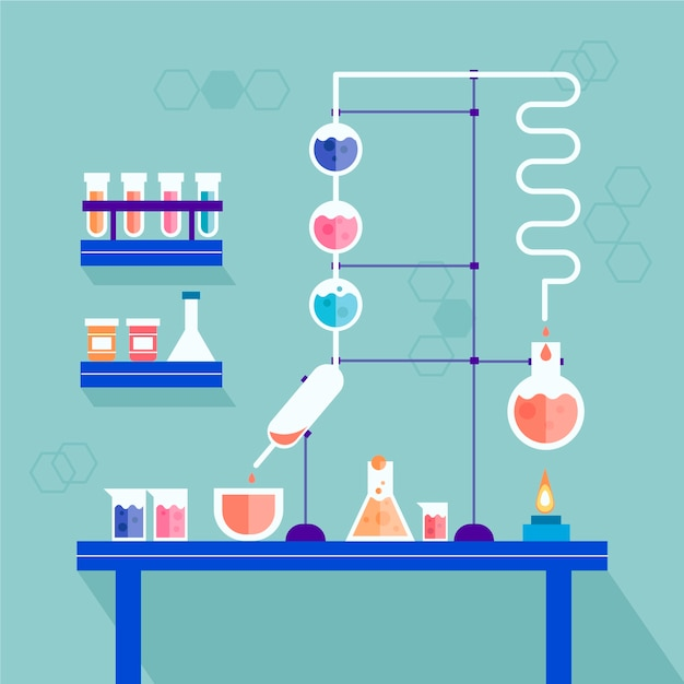 Science lab with different objects Free Vector