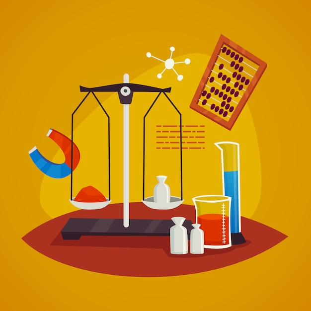 Science laboratory design concept with  scales Free Vector