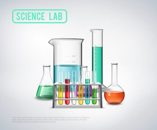 Science laboratory equipment composition Free Vector