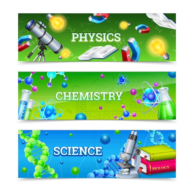 Science laboratory equipment horizontal banners Free Vector