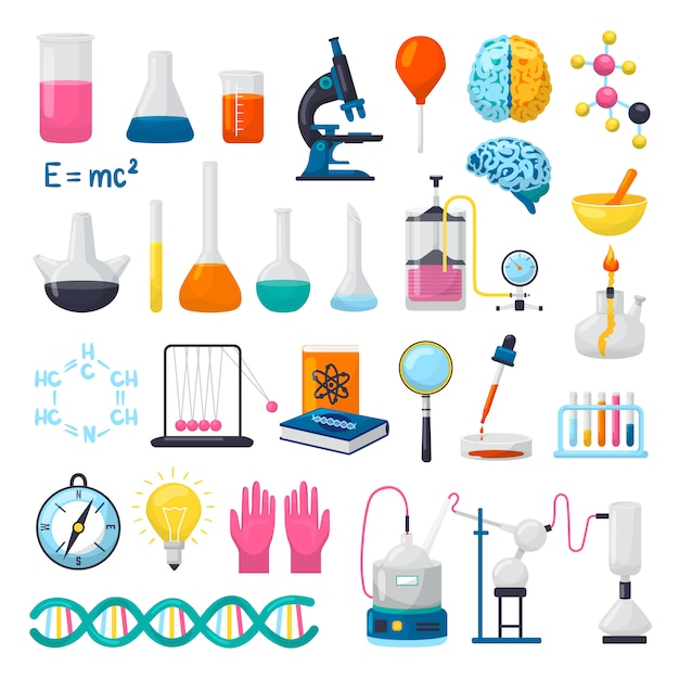 Science and laboratory equipment icons set of  illustrations. flasks, beakers, microscope, chemical formulas of dna, brains and scientifical research experiments supplies. scientists objects. Premium Vector