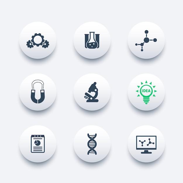 Science, laboratory study icons set Premium Vector