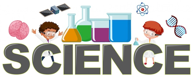 Science logo with element Premium Vector