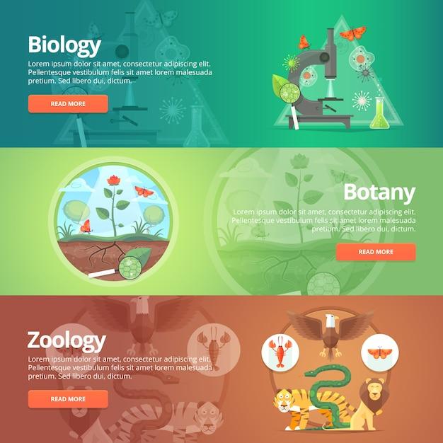 Биология. естественные науки. растительная жизнь. знание ботаники. планета животных. зоология. зоопарк. мир дикой природы. набор баннеров образования и науки. концепция. Premium векторы