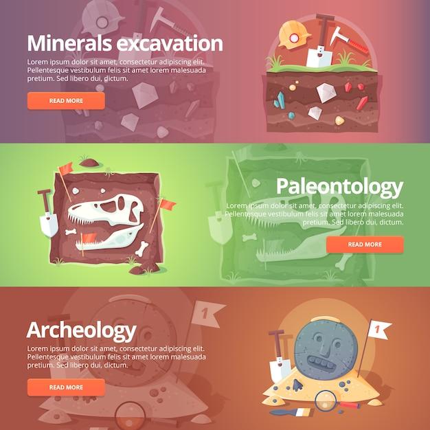 生命の科学。鉱物の発掘。古生物学。歴史考古学。古代の化石。種の起源。恐竜の年齢。地質。教育と科学のバナーを設定します。概念。 Premiumベクター