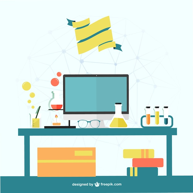 Science office desk vector free download for Office design vector