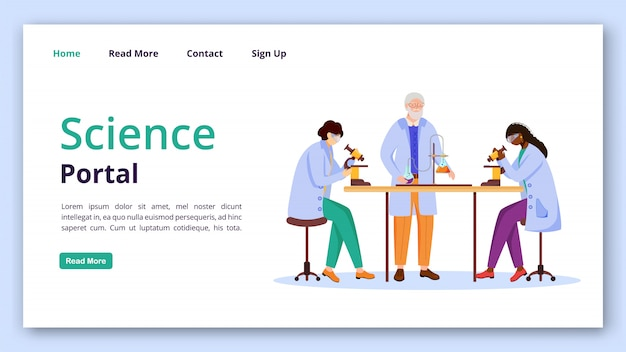 Science portal landing page  template. practical chemistry info website interface idea with flat illustrations. modern learning technology homepage layout, web banner, webpage cartoon concept Premium Vector