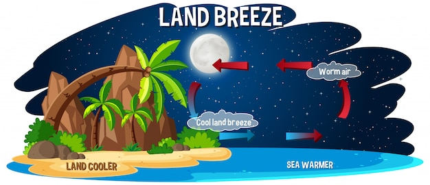 Science poster for land breeze Free Vector