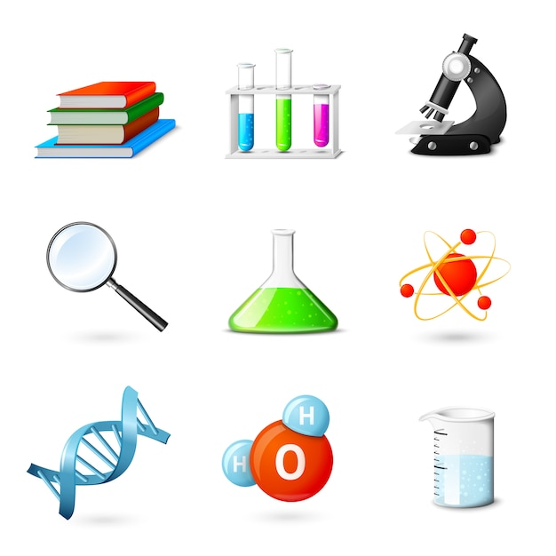 Science realistic elements Free Vector