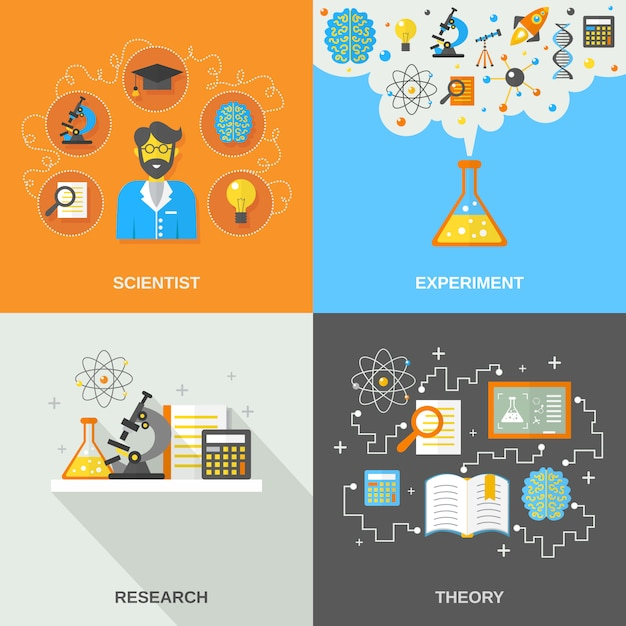 Science and research flat Free Vector