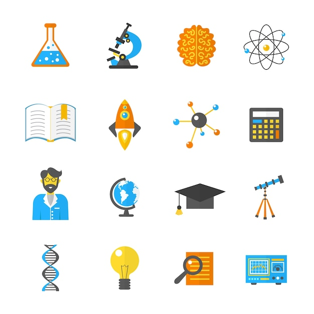 Science and research icon flat Free Vector