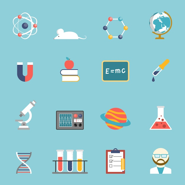Science and research icon set Free Vector