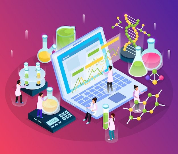 Science research isometric glow composition with small people characters and various laboratory stuff with laptop computer Free Vector