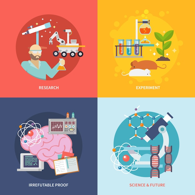 Science and research set Free Vector