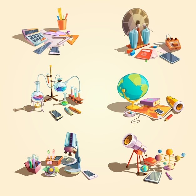 Science retro concept set with cartoon education objects Free Vector