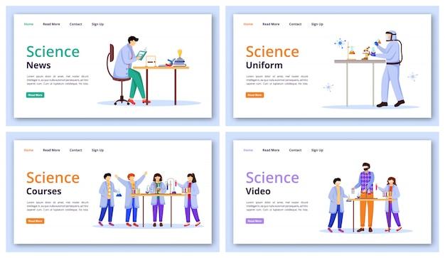Science services landing page  template set. Premium Vector