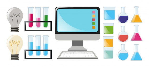 Science set with beakers and computer Free Vector