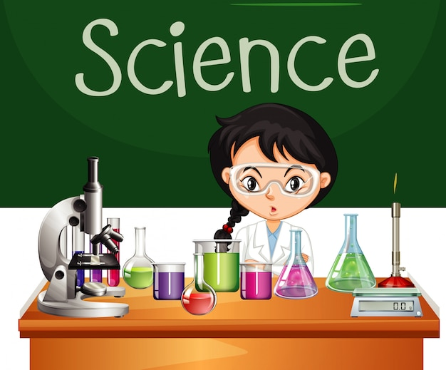 Science sign with science student and equipment Free Vector