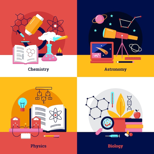 Science square banners Free Vector