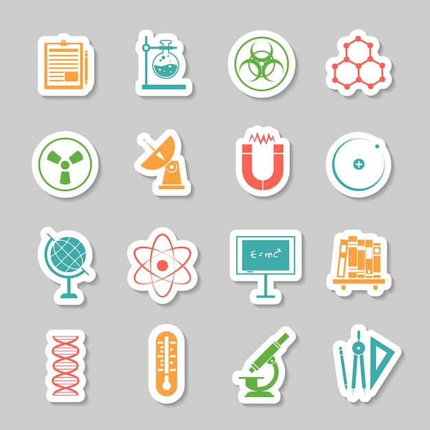 Science stickers  icons set Free Vector