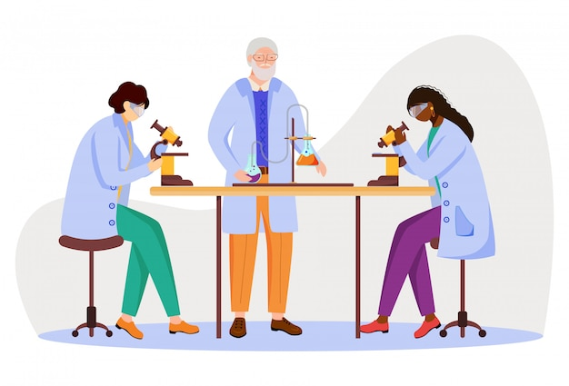 premium vector science students and professor in lab coats flat illustration studying medicine chemistry conducting experiment with microscope isolated cartoon characters on white background https www freepik com profile preagreement getstarted 8206723