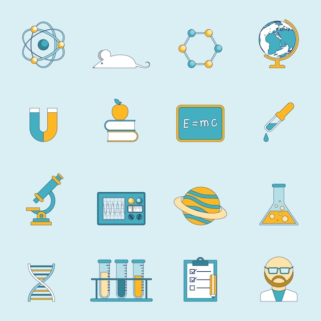 Science and study icon set Free Vector