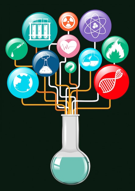 Science symbols and glass container