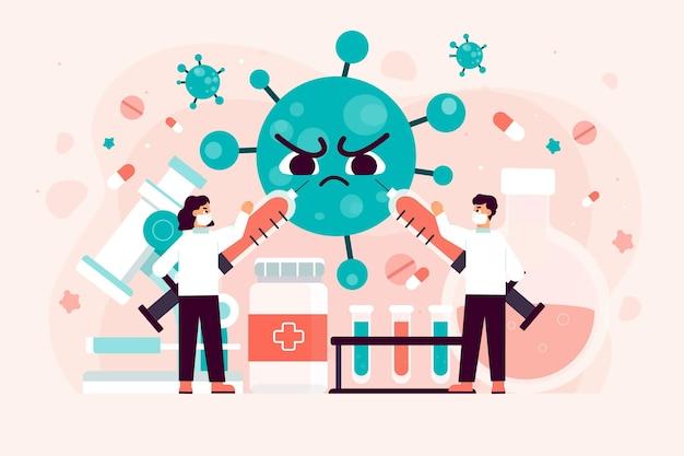 コロナウイルス治療法を開発しようとする科学チーム 無料ベクター