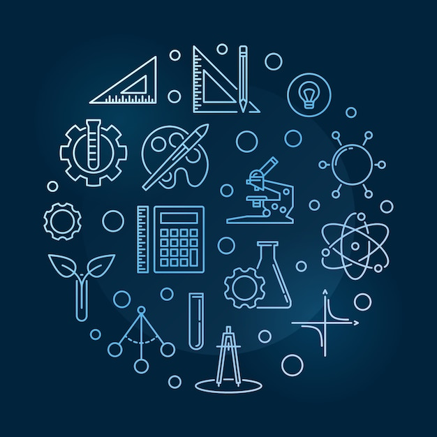 Science, technology, engineering, the arts and mathematics illustration Premium Vector