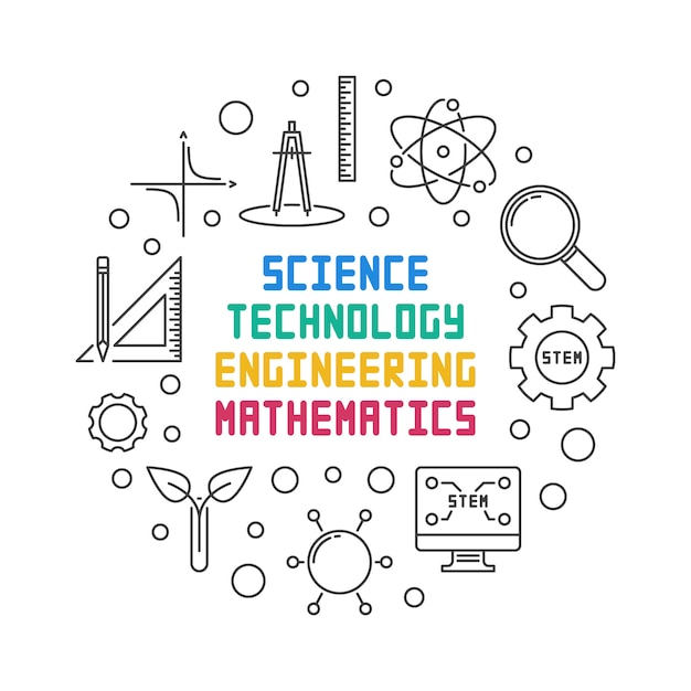 Science, technology, engineering and math round illustration Premium Vector