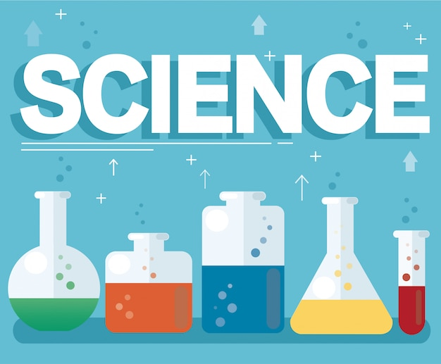Science text and colorful laboratory Premium Vector
