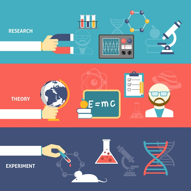 Science theory banner set Free Vector