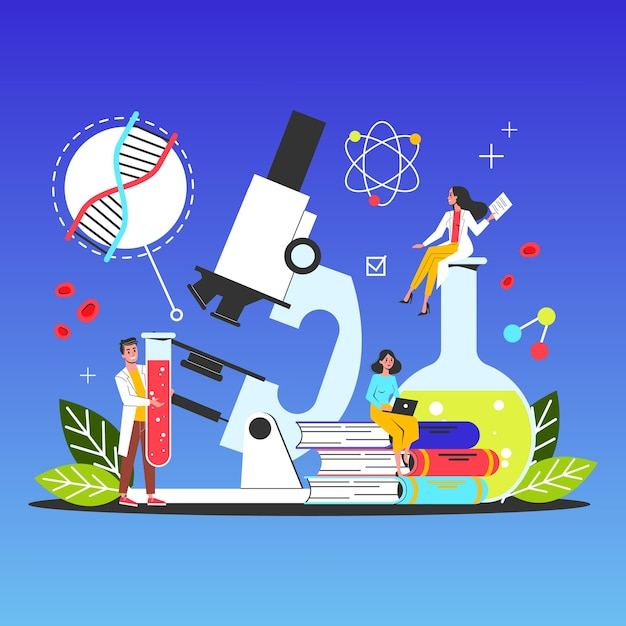 Science web banner concept. idea of education and knowledge Premium Vector