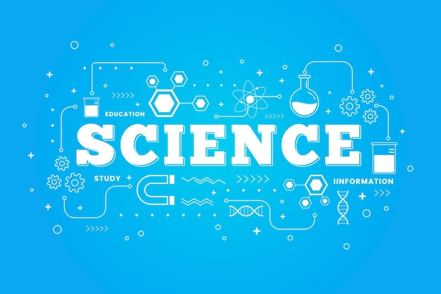 Science word illustrated concept Free Vector