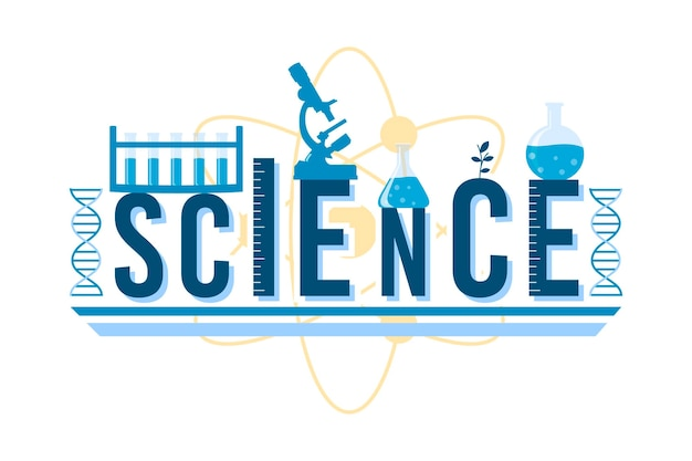 Science word illustrated design | Free Vector