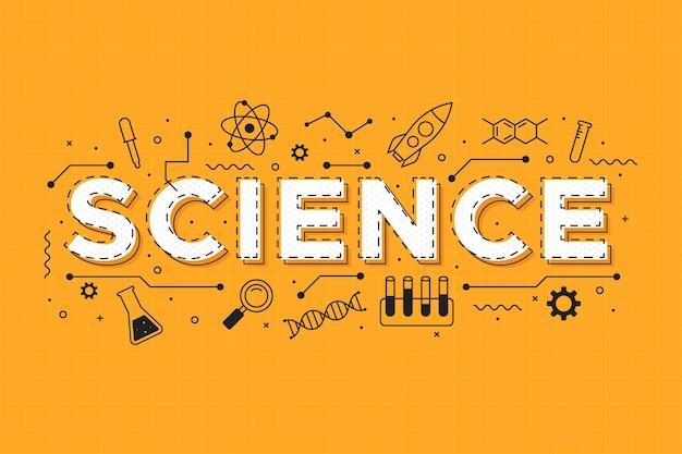 Наука слово на оранжевом фоне концепции Бесплатные векторы