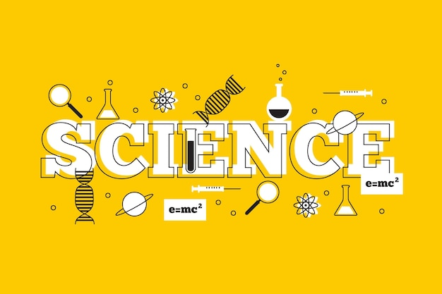 Science word with dna and molecules Free Vector