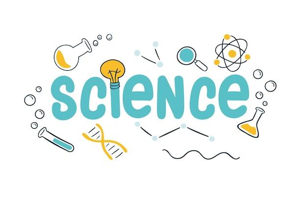 Concetto di lavoro di scienza con oggetti di laboratorio Vettore gratuito