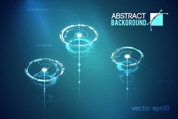 Научный абстрактный технологический шаблон с футуристическими виртуальными кругами на темной иллюстрации Бесплатные векторы