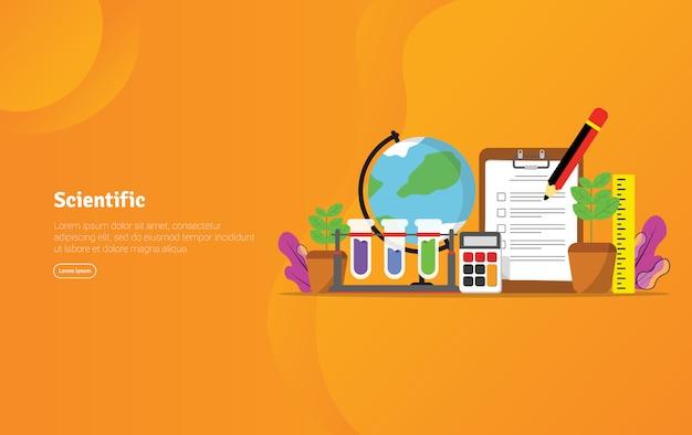 Scientific concept educational illustration banner Premium Vector