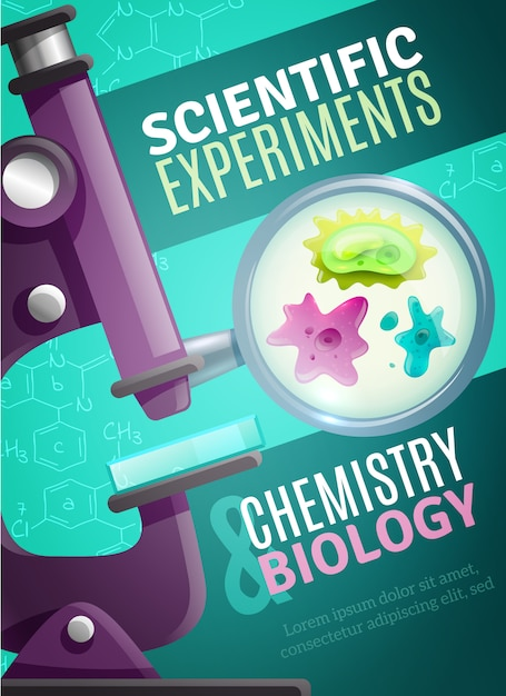 Scientific experiments poster template Free Vector